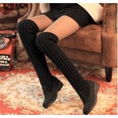 รองเท้าบูท แฟชั่นเกาหลีบูทยาวถักนิตติ้ง นำเข้า ไซส์34ถึง40 สีดำ - พรีออเดอร์RB2012 ราคา1750บาท