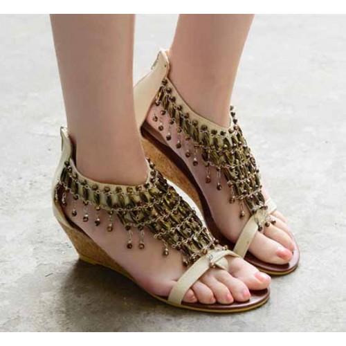 รองเท้าส้นเตี้ย แฟชั่นเกาหลีแบบใหม่หรูหรา นำเข้า ไซส์34ถึง41 สีเบจ - พรีออเดอร์RB2015 ราคา1350บาท