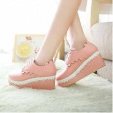 รองเท้าส้นตึก แฟชั่นเกาหลีผ้าใบลูกไม้ส้นเตารีด นำเข้าไซส์34ถึง42 สีชมพู - พรีออเดอร์RB2023 ราคา1850บาท