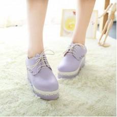 รองเท้าส้นตึก แฟชั่นเกาหลีผ้าใบลูกไม้ส้นเตารีด นำเข้าไซส์34ถึง42 สีม่วง - พรีออเดอร์RB2023 ราคา1850บาท