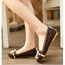 รองเท้าส้นเตี้ย แฟชั่นเกาหลีดีไซน์คัทชูลูกไม้ นำเข้า ไซส์34ถึง43 สีน้ำตาล - พรีออเดอร์RB2024 ราคา1050บาท