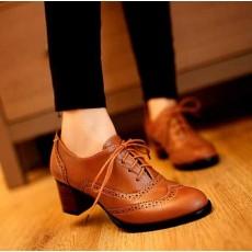 รองเท้าผ้าใบ แฟชั่นเกาหลีคัทชูหนังสวย นำเข้า ไซส์34ถึง43 สีน้ำตาล - พรีออเดอร์RB2026 ราคา1550บาท