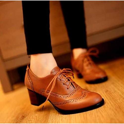 รองเท้าผ้าใบ แฟชั่นเกาหลีคัทชูหนังสวย นำเข้า ไซส์34ถึง43 สีน้ำตาล - พรีออเดอร์RB2026 ราคา1350บาท