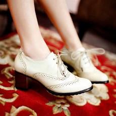 รองเท้าผ้าใบ แฟชั่นเกาหลีคัทชูหนังสวย นำเข้า ไซส์34ถึง43 สีเบจ - พรีออเดอร์RB2026 ราคา1550บาท