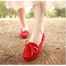 รองเท้าส้นเตี้ย แฟชั่นเกาหลีคัทชูสวมหนังกลับ นำเข้า ไซส์35ถึง39 สีแดง - พรีออเดอร์RB2027 ราคา1450บาท