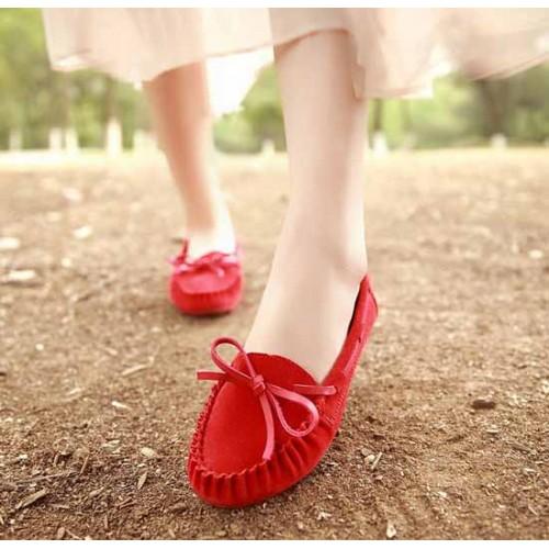 รองเท้าส้นเตี้ย แฟชั่นเกาหลีคัทชูสวมหนังกลับ นำเข้า ไซส์35ถึง39 สีแดง - พรีออเดอร์RB2027 ราคา1370บาท