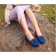 รองเท้าส้นเตี้ย แฟชั่นเกาหลีคัทชูสวมหนังกลับ นำเข้า ไซส์35ถึง39 สีน้ำเงิน - พรีออเดอร์RB2027 ราคา1450บาท