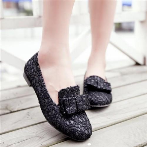 รองเท้าส้นเตี้ย แฟชั่นเกาหลีแบบลูกไม้สวย นำเข้า ไซส์34ถึง43 สีดำ - พรีออเดอร์RB2036 ราคา1070บาท