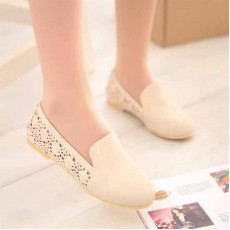 รองเท้าส้นเตี้ย แฟชั่นเกาหลีลูกไม้ถักสวย นำเข้า ไซส์34ถึง43 สีครีม - พรีออเดอร์RB2037 ราคา1300บาท
