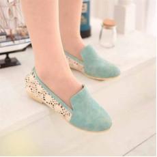 รองเท้าส้นเตี้ย แฟชั่นเกาหลีลูกไม้ถักสวย นำเข้า ไซส์34ถึง43 สีฟ้า - พรีออเดอร์RB2037 ราคา1300บาท