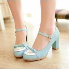 รองเท้าส้นสูง แฟชั่นเกาหลีแต่งหนังสไตล์ลูกไม้ นำเข้าไซส์34ถึง43 สีฟ้า - พรีออเดอร์RB2048 ราคา1550บาท