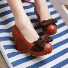 รองเท้าส้นตึก แฟชั่นเกาหลีน่ารักแต่งโบว์ฮิต นำเข้าไซส์34ถึง43 สีน้ำตาล - พรีออเดอร์RB2052 ราคา1750บาท