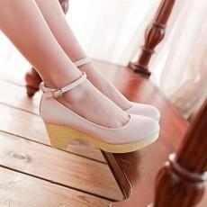 รองเท้าส้นสูง แฟชั่นเกาหลีส้นใหญ่มีสายรัดข้อ นำเข้าไซส์34ถึง39 สีชมพู - พรีออเดอร์RB2074 ราคา1450บาท