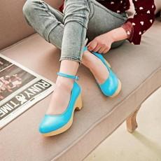 รองเท้าส้นสูง แฟชั่นเกาหลีส้นใหญ่มีสายรัดข้อ นำเข้าไซส์34ถึง39 สีฟ้า - พรีออเดอร์RB2074 ราคา1450บาท