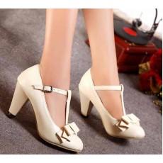 รองเท้าส้นสูง แฟชั่นเกาหลีสวยสง่าประทับใจ นำเข้าไซส์34ถึง43 สีครีม - พรีออเดอร์RB2076 ราคา1750บาท