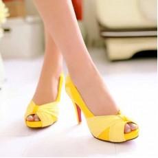 รองเท้าส้นสูง แฟชั่นเกาหลีสวยหรูออกงานแต่งงาน นำเข้าไซส์34ถึง43 สีเหลือง - พรีออเดอร์RB2096 ราคา1890บาท
