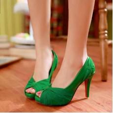 รองเท้าส้นสูง แฟชั่นเกาหลีสวยหรูออกงานแต่งงาน นำเข้าไซส์34ถึง43 สีเขียว - พรีออเดอร์RB2096 ราคา1890บาท