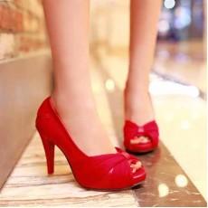 รองเท้าส้นสูง แฟชั่นเกาหลีสวยหรูออกงานแต่งงาน นำเข้าไซส์34ถึง43 สีแดง - พรีออเดอร์RB2096 ราคา1890บาท
