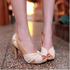 รองเท้าส้นสูง แฟชั่นเกาหลีสวยหรูออกงานแต่งงาน นำเข้าไซส์34ถึง43 สีเบจ - พรีออเดอร์RB2096 ราคา1890บาท