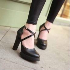 รองเท้าส้นสูง แฟชั่นเกาหลีสายไขว้เซ็กซี่สวย นำเข้าไซส์34ถึง39 สีดำ - พรีออเดอร์RB2100 ราคา1530บาท