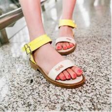 รองเท้าส้นเตี้ย แฟชั่นเกาหลีรองเท้าแตะรุ่นใหม่ นำเข้า ไซส์34ถึง39 สีเหลือง - พรีออเดอร์RB2107 ราคา995บาท