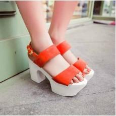 รองเท้าส้นตึก แฟชั่นเกาหลีส้นสูงหนาแบบญี่ปุ่น นำเข้าไซส์34ถึง39 สีส้ม - พรีออเดอร์RB2142ราคา1450บาท