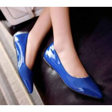 รองเท้าส้นแบน คัทชูหนังแก้วหัวแหลมดาราแฟชั่นเกาหลี นำเข้าไซส์34ถึง43 สีน้ำเงิน - พรีออเดอร์RB2171 ราคา1400บาท