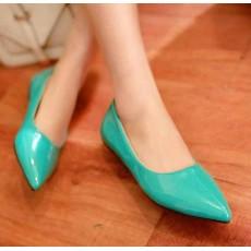 รองเท้าส้นแบน คัทชูหนังแก้วหัวแหลมดาราแฟชั่นเกาหลี นำเข้าไซส์34ถึง43 สีเขียว - พรีออเดอร์RB2171 ราคา1400บาท
