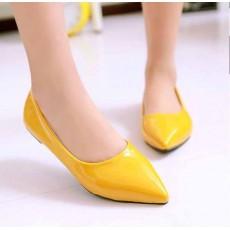 รองเท้าส้นแบน คัทชูหนังแก้วหัวแหลมดาราแฟชั่นเกาหลี นำเข้าไซส์34ถึง43 สีเหลือง - พรีออเดอร์RB2171 ราคา1400บาท