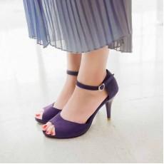 รองเท้าส้นสูง แฟชั่นเกาหลีเปิดหน้าเท้ารัดส้น นำเข้า ไซส์34ถึง39 สีม่วง - พรีออเดอร์RB2179 ราคา1100บาท