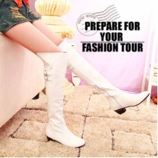 รองเท้าบูทยาว แฟชั่นเกาหลีสวยหรูมีไซส์ใหญ่ นำเข้า ไซส์33ถึง47 สีขาว - พรีออเดอร์RB2199 ราคา1750บาท