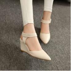 รองเท้าส้นตึก หนังแท้หัวแหลมแฟชั่นเกาหลี นำเข้าไซส์34ถึง39 สีขาว - พรีออเดอร์RB2216 ราคา1950บาท