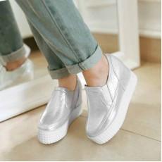 รองเท้าผ้าใบส้นตึก แฟชั่นเกาหลีวินเทจสุดชิค นำเข้า ไซส์34ถึง39 สีเงิน - พรีออเดอร์RB2217 ราคา1850บาท