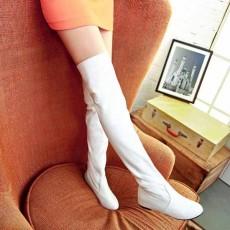 รองเท้าบูทยาว ปิดหัวเข่าส้นเตี้ยแฟชั่นเกาหลีสวยใหม่มีไซส์ใหญ่ นำเข้า ไซส์34ถึง43 สีขาว - พรีออเดอร์RB2234 ราคา1750บาท