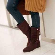 รองเท้าบูทส้นเตี้ย แฟชั่นเกาหลีหนังกลับแต่งหัวเข็มขัดเก๋ นำเข้า ไซส์33ถึง44 สีน้ำตาล - พรีออเดอร์RB2245 ราคา1850บาท