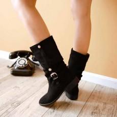 รองเท้าบูทส้นเตี้ย แฟชั่นเกาหลีหนังกลับแต่งหัวเข็มขัดเก๋ นำเข้า ไซส์33ถึง44 สีดำ - พรีออเดอร์RB2245 ราคา1850บาท