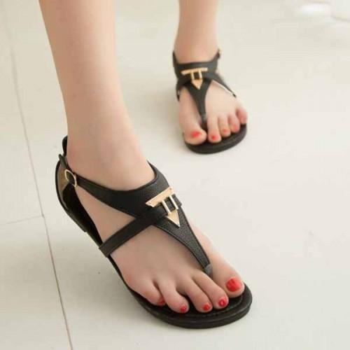 รองเท้าแตะรัดส้น แฟชั่นเกาหลีแบบหนีบหูคีบใหม่สไตล์วินเทจ นำเข้า ไซส์35ถึง39 สีดำ - พรีออเดอร์RB2247 ราคา1250บาท