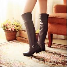 รองเท้าบูทยาว ปิดหัวเข่าส้นเตี้ยแฟชั่นเกาหลีอบอุ่นมีไซส์ใหญ่ นำเข้า ไซส์34ถึง40 สีน้ำตาล - พรีออเดอร์RB2254 ราคา1850บาท