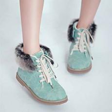 รองเท้าบูทส้นเตี้ย แบบผ้าใบถอดขนเฟอร์ได้แฟชั่นเกาหลีรุ่นใหม่ นำเข้า ไซส์34ถึง43 สีฟ้า - พรีออเดอร์RB2255 ราคา1680บาท