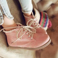 รองเท้าบูทส้นเตี้ย แบบผ้าใบถอดขนเฟอร์ได้แฟชั่นเกาหลีรุ่นใหม่ นำเข้า ไซส์34ถึง43 สีชมพู - พรีออเดอร์RB2255 ราคา1680บาท