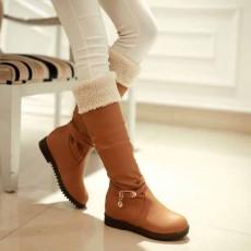 รองเท้าบูทส้นเตี้ย กันหนาวแฟชั่นเกาหลีด้านในบุขนนุ่มเท้า นำเข้า ไซส์34ถึง39 สีน้ำตาล - พรีออเดอร์RB2262 ราคา1750บาท