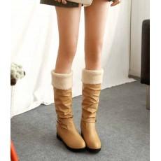 รองเท้าบูทส้นเตี้ย กันหนาวแฟชั่นเกาหลีด้านในบุขนนุ่มเท้า นำเข้า ไซส์34ถึง39 สีเบจ - พรีออเดอร์RB2262 ราคา1750บาท