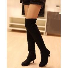 รองเท้าบูทยาว หนังกลับส้นสูงแฟชั่นเกาหลี นำเข้า ไซส์34ถึง43 สีดำ - พรีออเดอร์RB2264 ราคา1650บาท