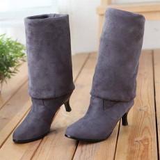 รองเท้าบูทยาว หนังกลับส้นสูงแฟชั่นเกาหลี นำเข้า ไซส์34ถึง43 สีเทา - พรีออเดอร์RB2264 ราคา1650บาท