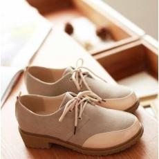 รองเท้าOXFORDผู้หญิง สวมแนวโลฟเฟอร์ผ้าใบแฟชั่นเกาหลี นำเข้าไซส์34ถึง43 สีครีม - พรีออเดอร์RB2272 ราคา1650บาท