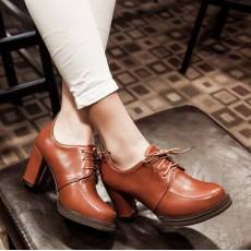 รองเท้าส้นสูง วินเทจผู้หญิงแฟชั่นเกาหลีสไตล์ใหม่เหมาะกับเทรนด์ นำเข้า ไซส์34ถึง43 สีน้ำตาล - พรีออเดอร์RB2273 ราคา1800บาท