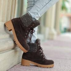 รองเท้าบูทหุ้มข้อ กันหนาวแฟชั่นเกาหลีส้นเตี้ยบุขนรุ่นใหม่ นำเข้า ไซส์34ถึง43 สีน้ำตาล - พรีออเดอร์RB2275 ราคา1850บาท