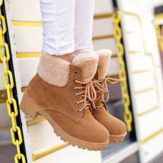 รองเท้าบูทหุ้มข้อ กันหนาวแฟชั่นเกาหลีส้นเตี้ยบุขนรุ่นใหม่ นำเข้า ไซส์34ถึง43 สีกากี - พรีออเดอร์RB2275 ราคา1850บาท