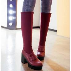 รองเท้าบูทยาว ส้นสูงแฟชั่นเกาหลีแบบสวมยืดหยุ่นเข้าทรงเรียวขา นำเข้า ไซส์34ถึง43 สีแดง - พรีออเดอร์RB2278 ราคา1990บาท
