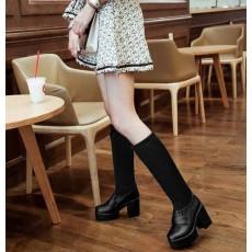 รองเท้าบูทยาว ส้นสูงแฟชั่นเกาหลีแบบสวมยืดหยุ่นเข้าทรงเรียวขา นำเข้า ไซส์34ถึง43 สีดำ - พรีออเดอร์RB2278 ราคา1990บาท